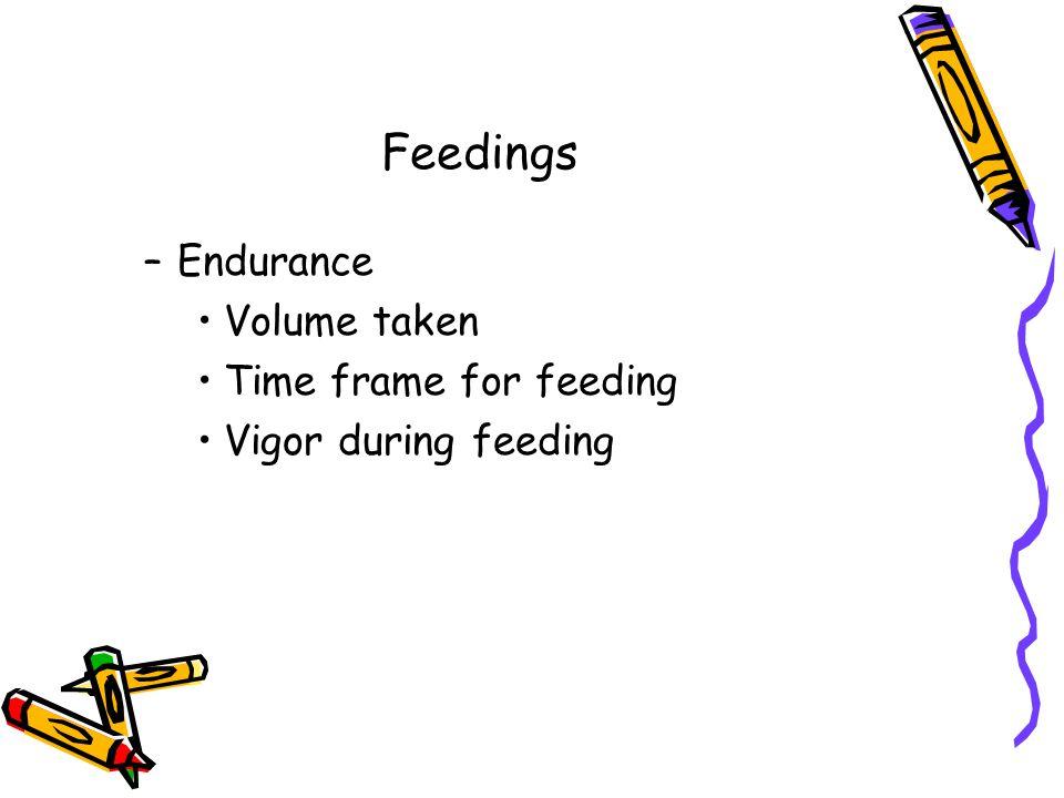 Feedings –Endurance Volume taken Time frame for feeding Vigor during feeding