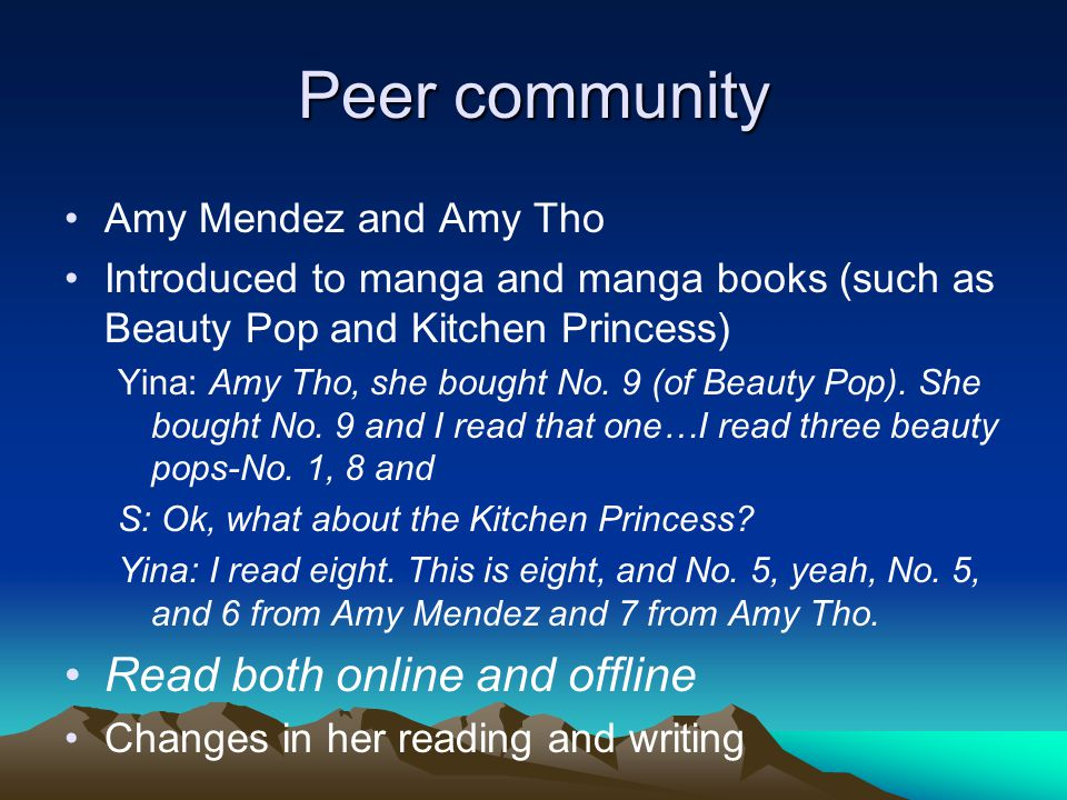 Peer community Amy Mendez and Amy Tho Introduced to manga and manga books (such as Beauty Pop and Kitchen Princess) Yina: Amy Tho, she bought No.