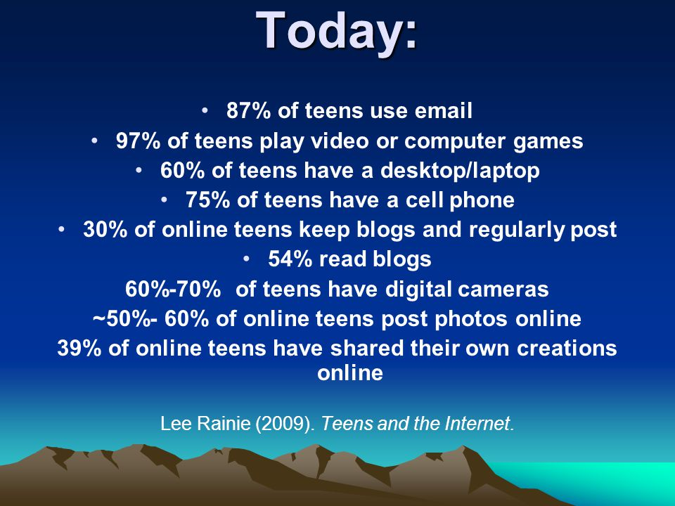 Today: 87% of teens use email 97% of teens play video or computer games 60% of teens have a desktop/laptop 75% of teens have a cell phone 30% of online teens keep blogs and regularly post 54% read blogs 60%-70% of teens have digital cameras ~50%- 60% of online teens post photos online 39% of online teens have shared their own creations online Lee Rainie (2009).