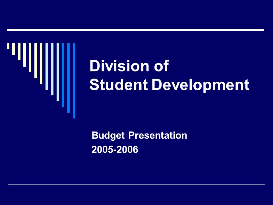Division of Student Development Budget Presentation 2005-2006