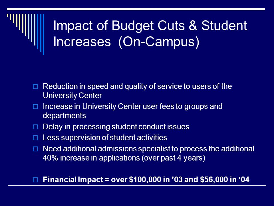 Impact of Budget Cuts & Student Increases (On-Campus) Reduction in speed and quality of service to users of the University Center Increase in University Center user fees to groups and departments Delay in processing student conduct issues Less supervision of student activities Need additional admissions specialist to process the additional 40% increase in applications (over past 4 years) Financial Impact = over $100,000 in 03 and $56,000 in 04