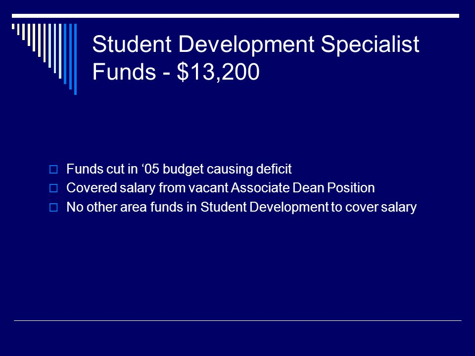 Student Development Specialist Funds - $13,200 Funds cut in 05 budget causing deficit Covered salary from vacant Associate Dean Position No other area funds in Student Development to cover salary