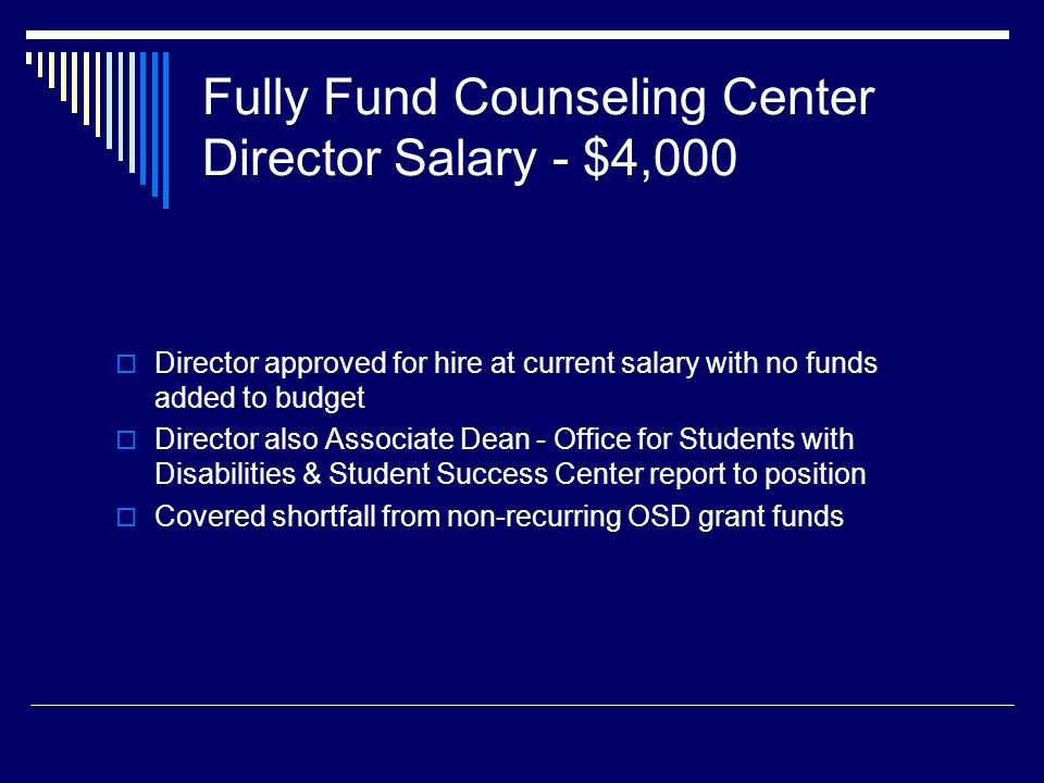 Fully Fund Counseling Center Director Salary - $4,000 Director approved for hire at current salary with no funds added to budget Director also Associate Dean - Office for Students with Disabilities & Student Success Center report to position Covered shortfall from non-recurring OSD grant funds