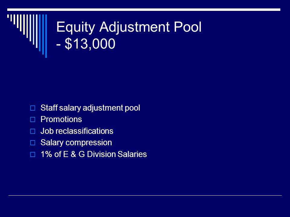 Equity Adjustment Pool - $13,000 Staff salary adjustment pool Promotions Job reclassifications Salary compression 1% of E & G Division Salaries