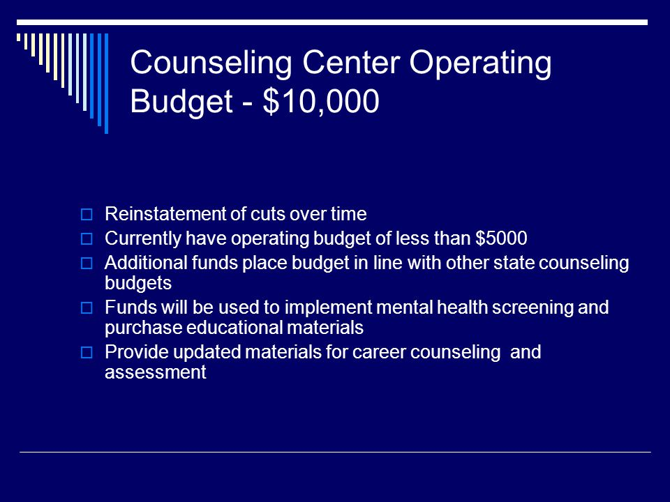 Counseling Center Operating Budget - $10,000 Reinstatement of cuts over time Currently have operating budget of less than $5000 Additional funds place budget in line with other state counseling budgets Funds will be used to implement mental health screening and purchase educational materials Provide updated materials for career counseling and assessment