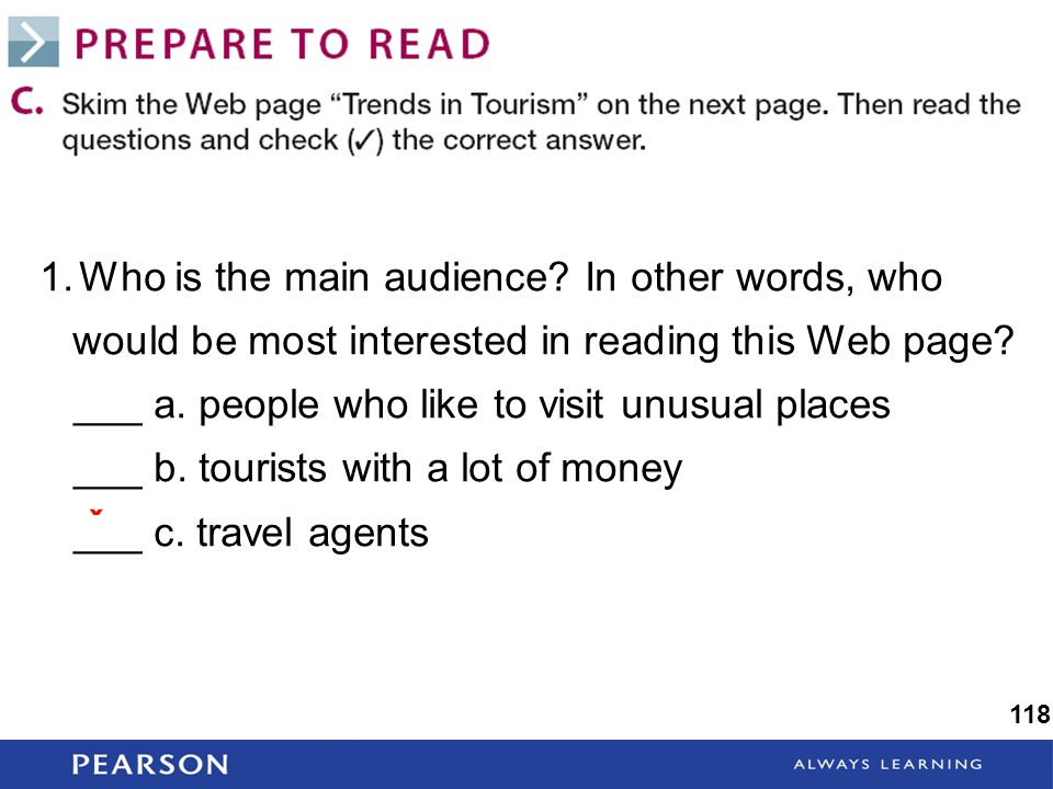 1.Who is the main audience. In other words, who would be most interested in reading this Web page.