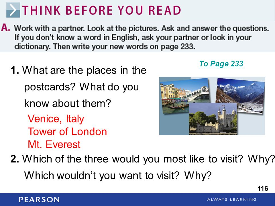 1. What are the places in the postcards. What do you know about them.