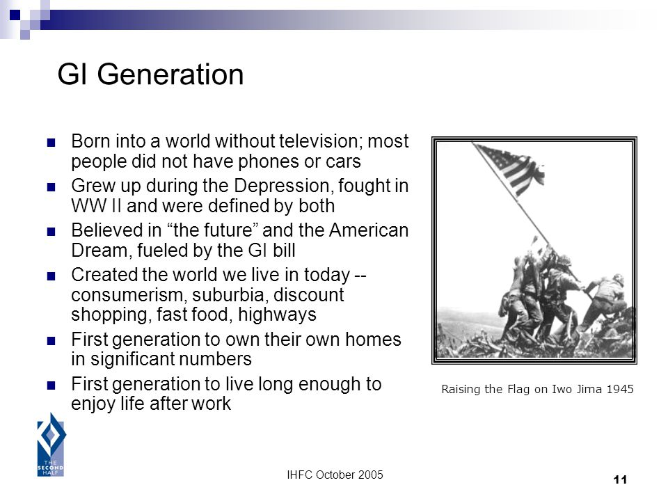 IHFC October 2005 11 GI Generation Born into a world without television; most people did not have phones or cars Grew up during the Depression, fought
