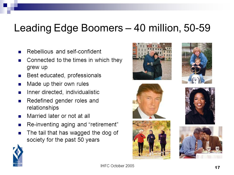 IHFC October 2005 17 Leading Edge Boomers – 40 million, 50-59 Rebellious and self-confident Connected to the times in which they grew up Best educated