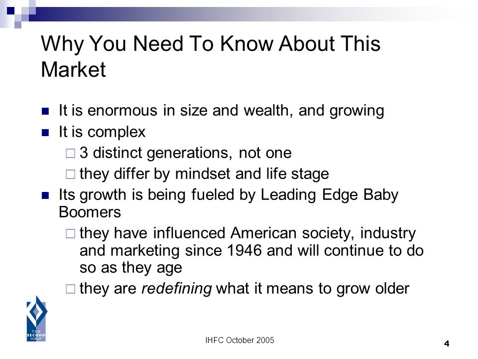 IHFC October 2005 4 Why You Need To Know About This Market It is enormous in size and wealth, and growing It is complex 3 distinct generations, not on
