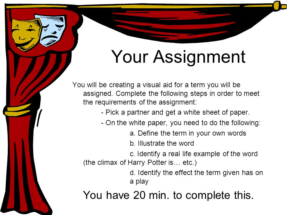 Your Assignment You will be creating a visual aid for a term you will be assigned.