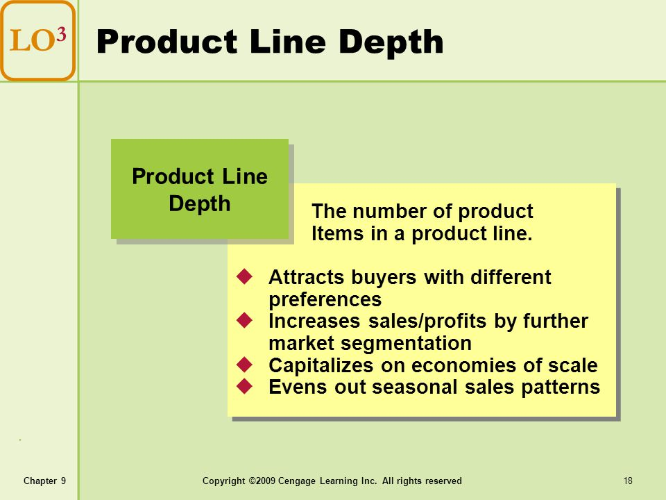 Chapter 9Copyright ©2009 Cengage Learning Inc. All rights reserved 18 Product Line Depth LO 3 The number of product Items in a product line. Attracts