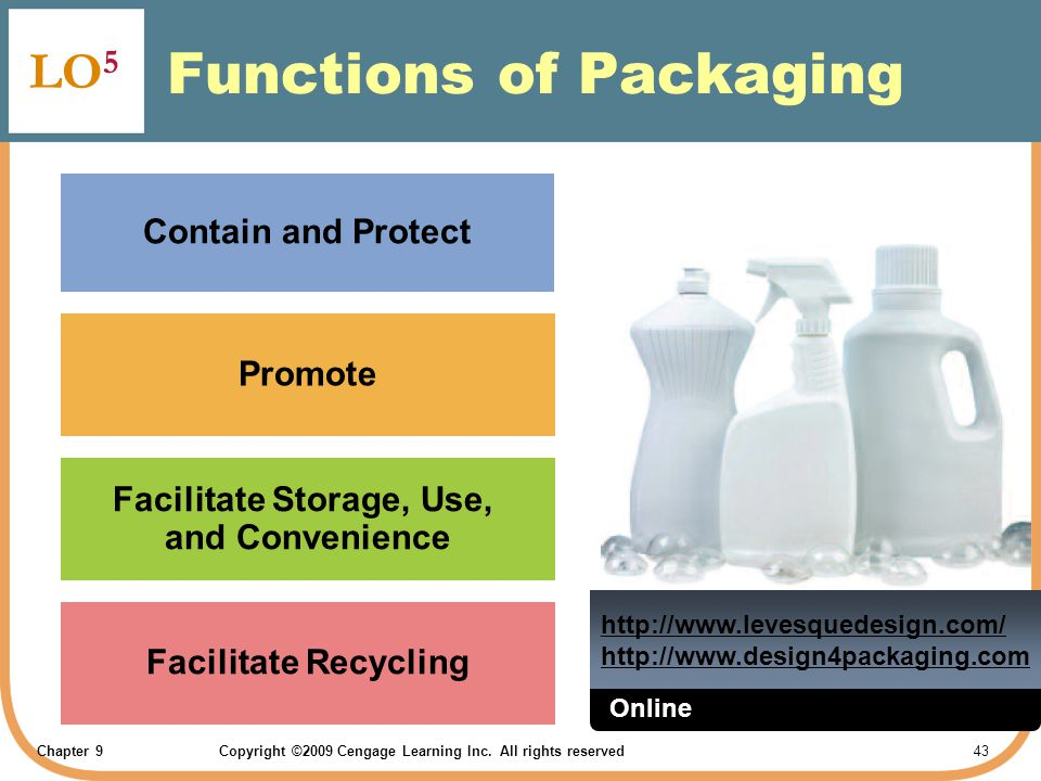 Chapter 9Copyright ©2009 Cengage Learning Inc. All rights reserved 43 Functions of Packaging LO 5 Contain and Protect Promote Facilitate Storage, Use,