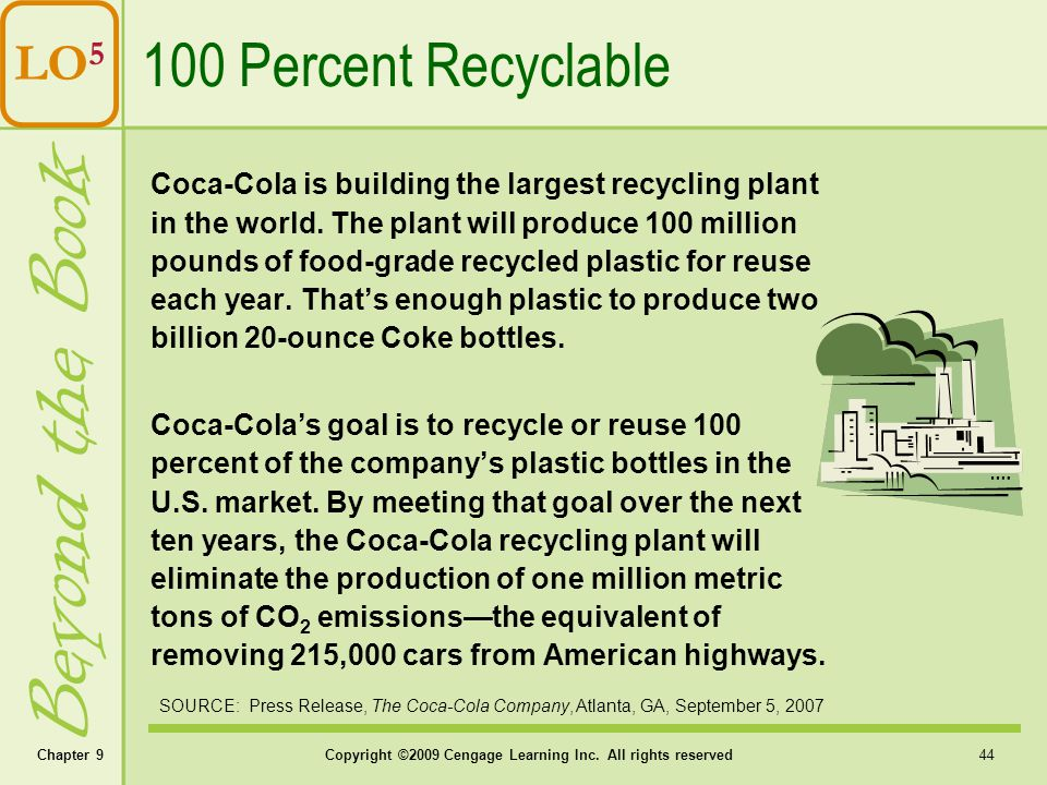 Chapter 9Copyright ©2009 Cengage Learning Inc. All rights reserved 44 LO 5 Beyond the Book 100 Percent Recyclable SOURCE: Press Release, The Coca-Cola
