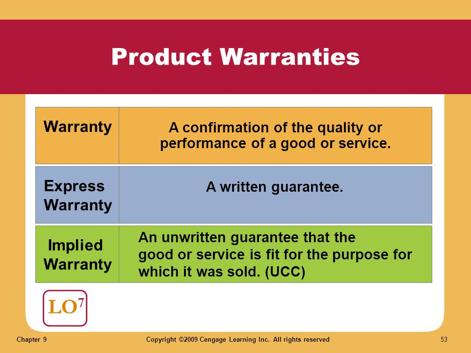 Chapter 9Copyright ©2009 Cengage Learning Inc. All rights reserved 53 Product Warranties LO 7 Warranty Express Warranty Implied Warranty A confirmatio