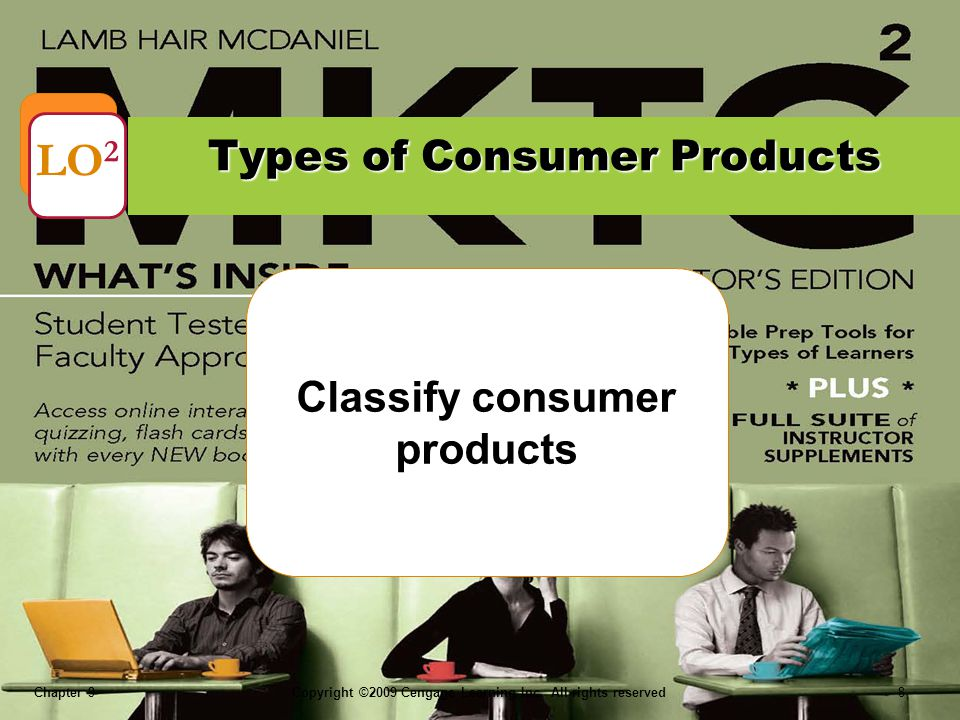 Chapter 9Copyright ©2009 Cengage Learning Inc. All rights reserved 8 Classify consumer products Types of Consumer Products LO 2