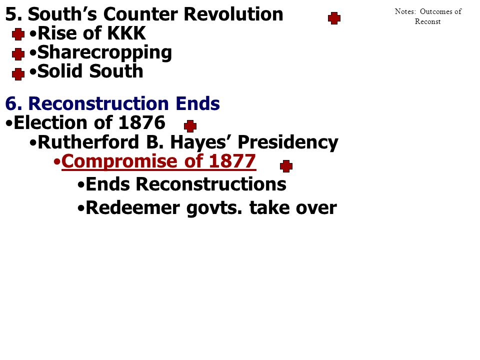 5.Souths Counter Revolution Rise of KKK Sharecropping Solid South 6.