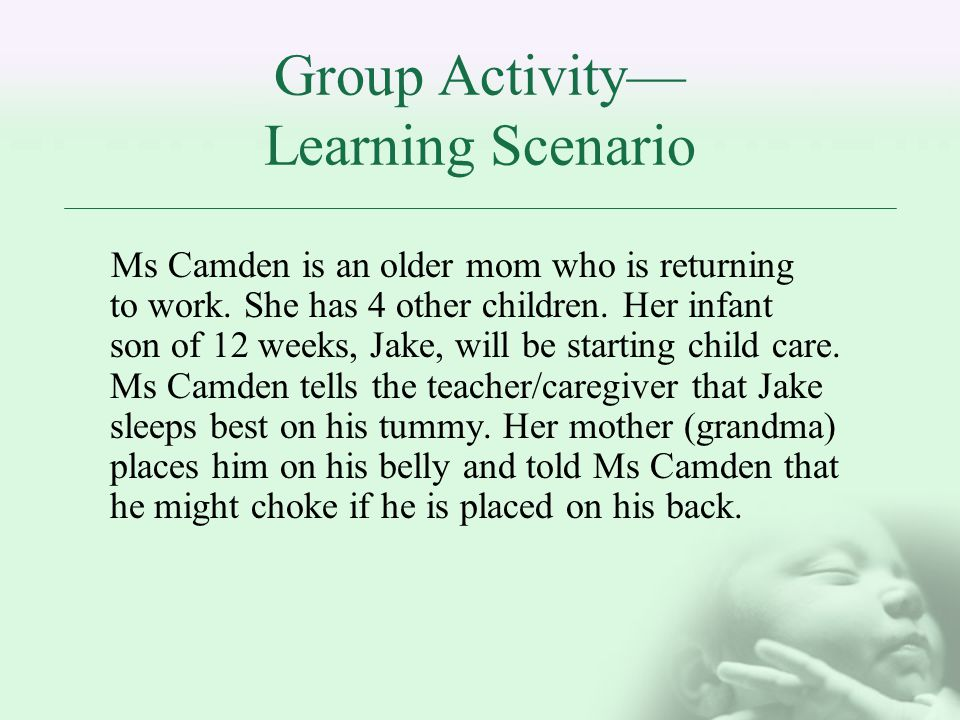 Group Activity Learning Scenario Ms Camden is an older mom who is returning to work.