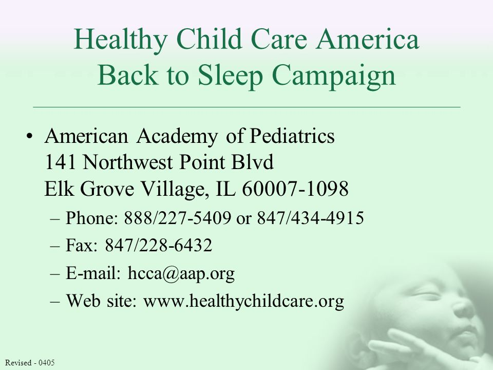 Healthy Child Care America Back to Sleep Campaign American Academy of Pediatrics 141 Northwest Point Blvd Elk Grove Village, IL –Phone: 888/ or 847/ –Fax: 847/ –  –Web site:   Revised