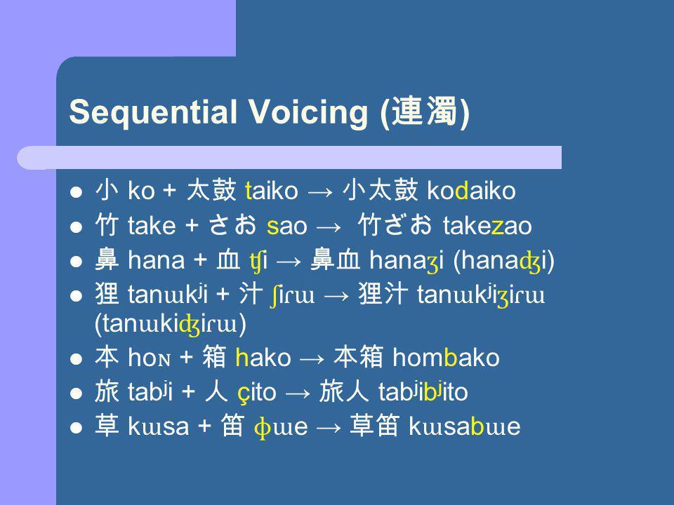 Sequential Voicing ( ) ko + taiko kodaiko take + sao takezao hana + ʧ i hana ʒ i (hana ʤ i) tan ɯ k j i + ʃ i ɾɯ tan ɯ k j i ʒ i ɾɯ (tan ɯ ki ʤ i ɾɯ ) ho ɴ + hako hombako tab j i + çito tab j ib j ito k ɯ sa + ɸɯ e k ɯ sab ɯ e