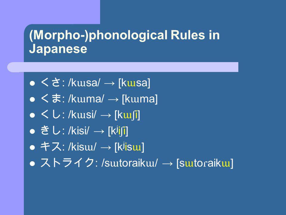 (Morpho-)phonological Rules in Japanese : /k ɯ sa/ [k ɯ sa] : /k ɯ ma/ [k ɯ ma] : /k ɯ si/ [k ɯʃ i] : /kisi/ [k j i ʃ i] : /kis ɯ / [k j is ɯ ] : /s ɯ toraik ɯ / [s ɯ to ɾ aik ɯ ]