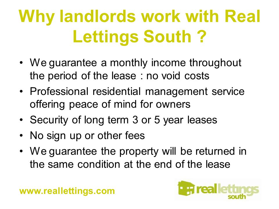 Why landlords work with Real Lettings South .