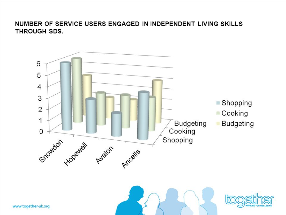 NUMBER OF SERVICE USERS ENGAGED IN INDEPENDENT LIVING SKILLS THROUGH SDS.