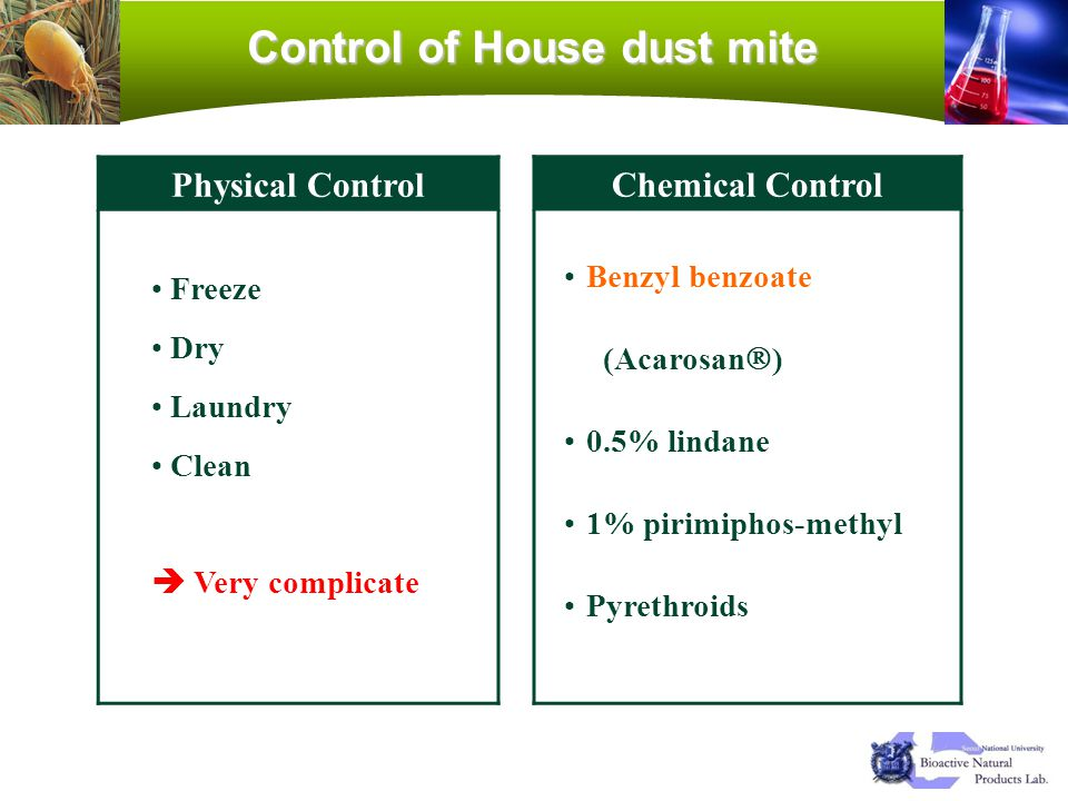 Control of House dust mite Physical Control Freeze Dry Laundry Clean Very complicate Chemical Control Benzyl benzoate (Acarosan ) 0.5% lindane 1% piri