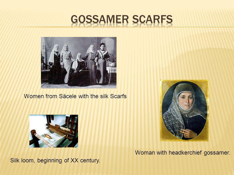 Woman with headkerchief gossamer. Silk loom, beginning of XX century.