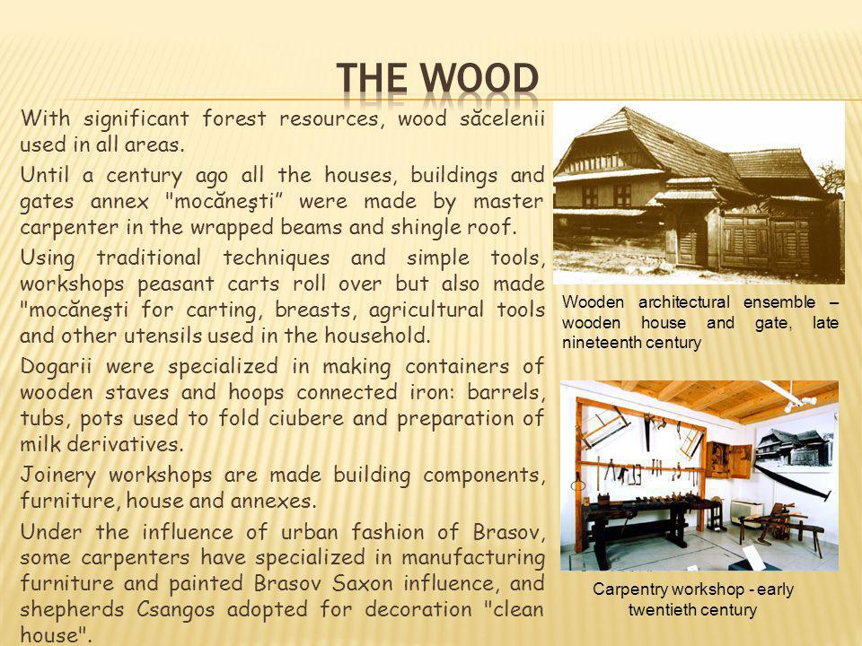 With significant forest resources, wood săcelenii used in all areas. Until a century ago all the houses, buildings and gates annex