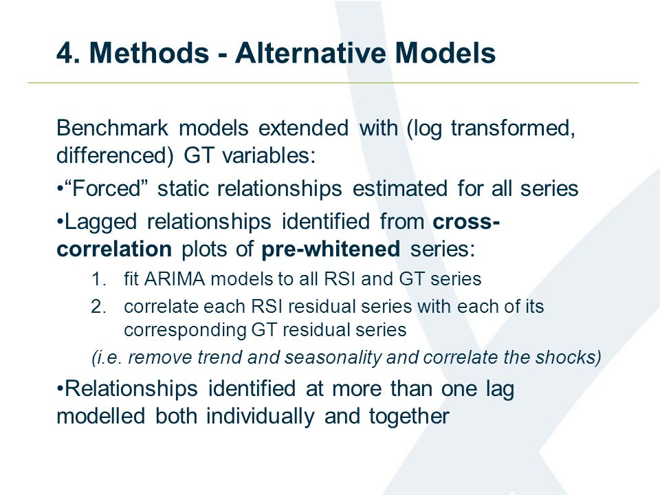 4. Methods - Alternative Models Benchmark models extended with (log transformed, differenced) GT variables: Forced static relationships estimated for