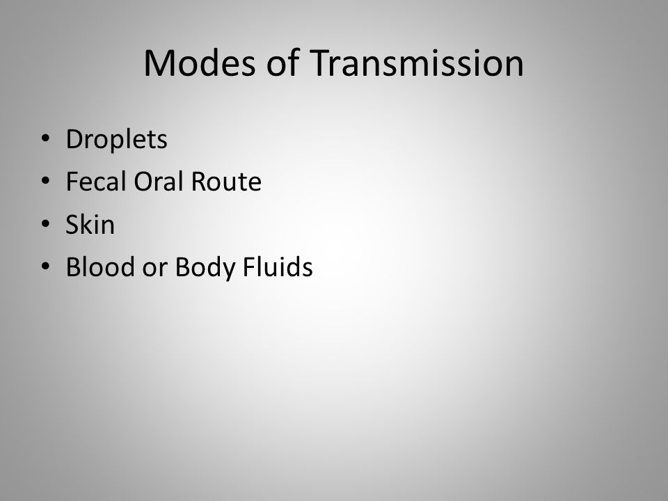 Modes of Transmission Droplets Fecal Oral Route Skin Blood or Body Fluids