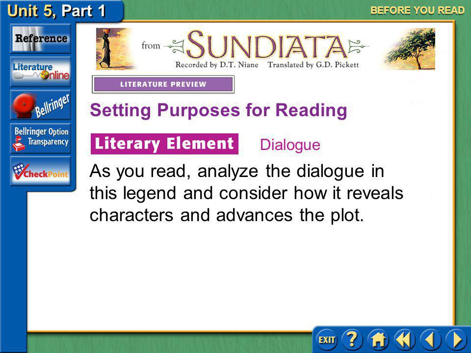 Unit 5, Part 1 Sundiata Setting Purposes for Reading BEFORE YOU READ Dialogue is the written conversation between characters in a literary work. Throu