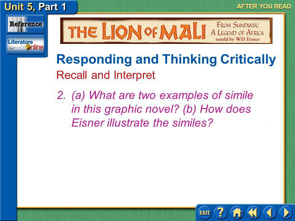 Unit 5, Part 1 Visual Perspective: The Lion Mali AFTER YOU READ Answer: Most will agree that it helps illustrate the characters and action and provide