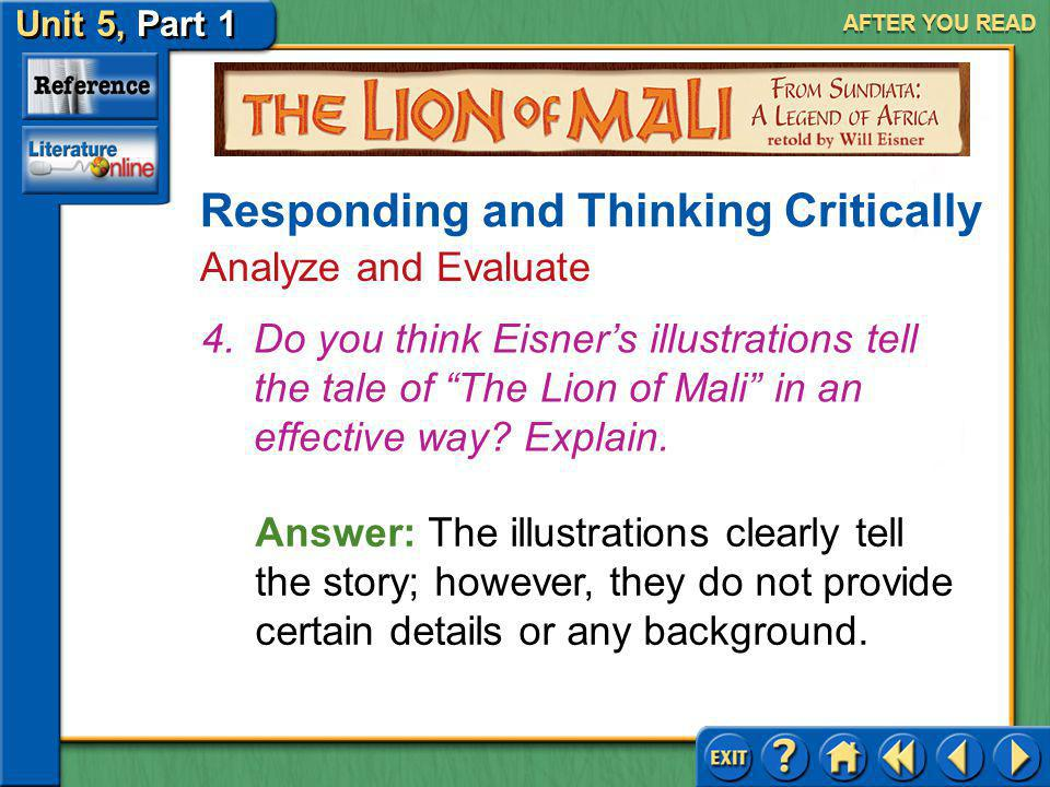 Unit 5, Part 1 Visual Perspective: The Lion Mali AFTER YOU READ Responding and Thinking Critically Recall and Interpret 3.(a) How do the men of Mali p