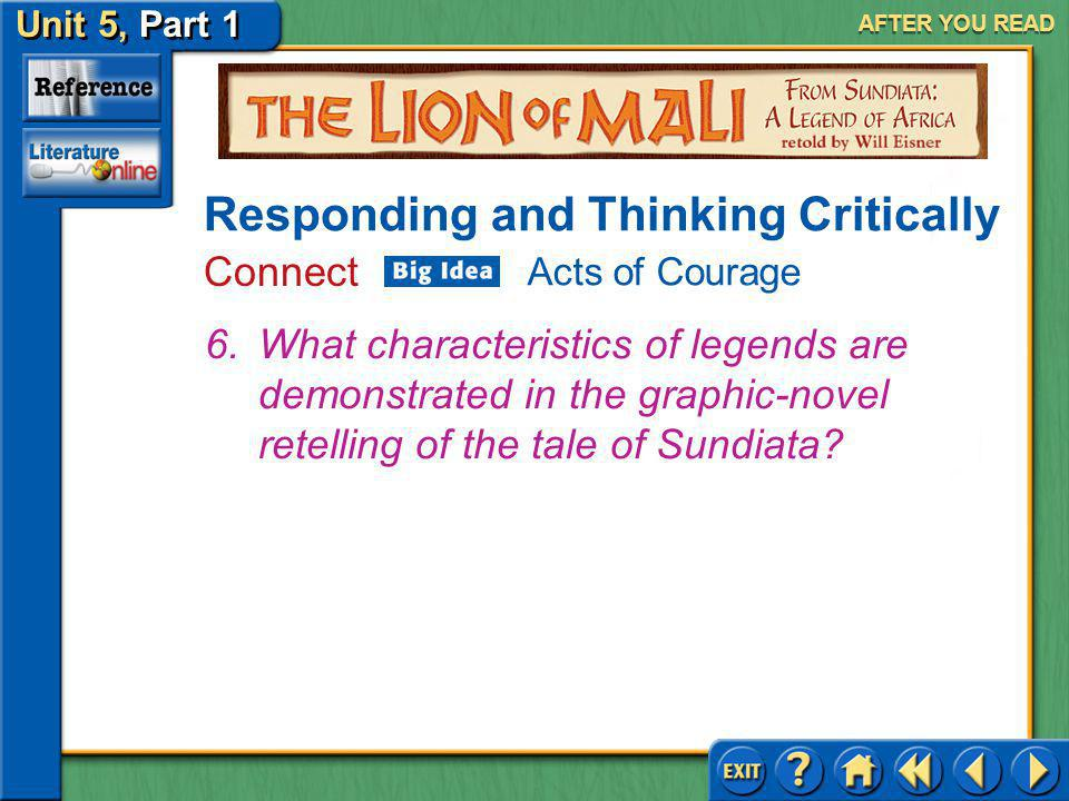 Unit 5, Part 1 Visual Perspective: The Lion Mali AFTER YOU READ Responding and Thinking Critically Analyze and Evaluate 5.What comment about Sumanguru