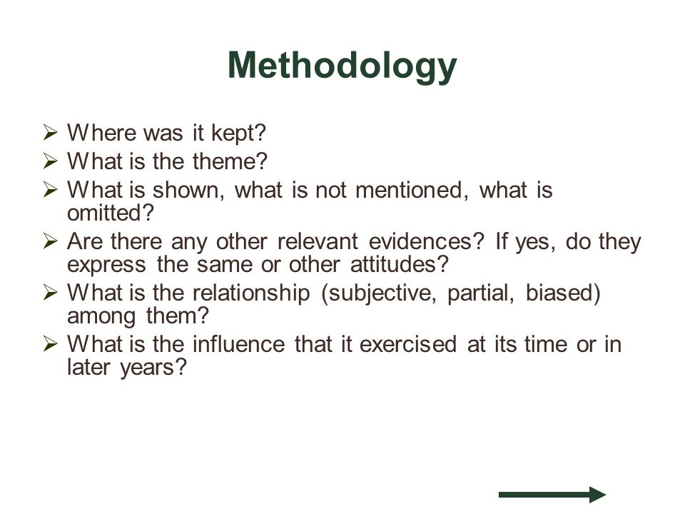 Methodology Where was it kept. What is the theme.