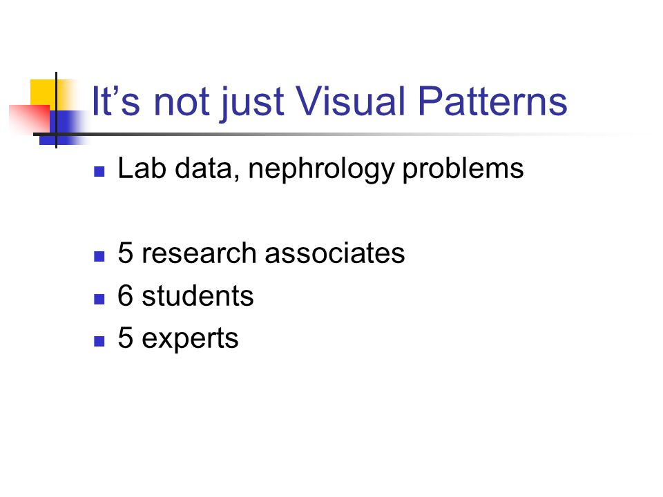 Its not just Visual Patterns Lab data, nephrology problems 5 research associates 6 students 5 experts