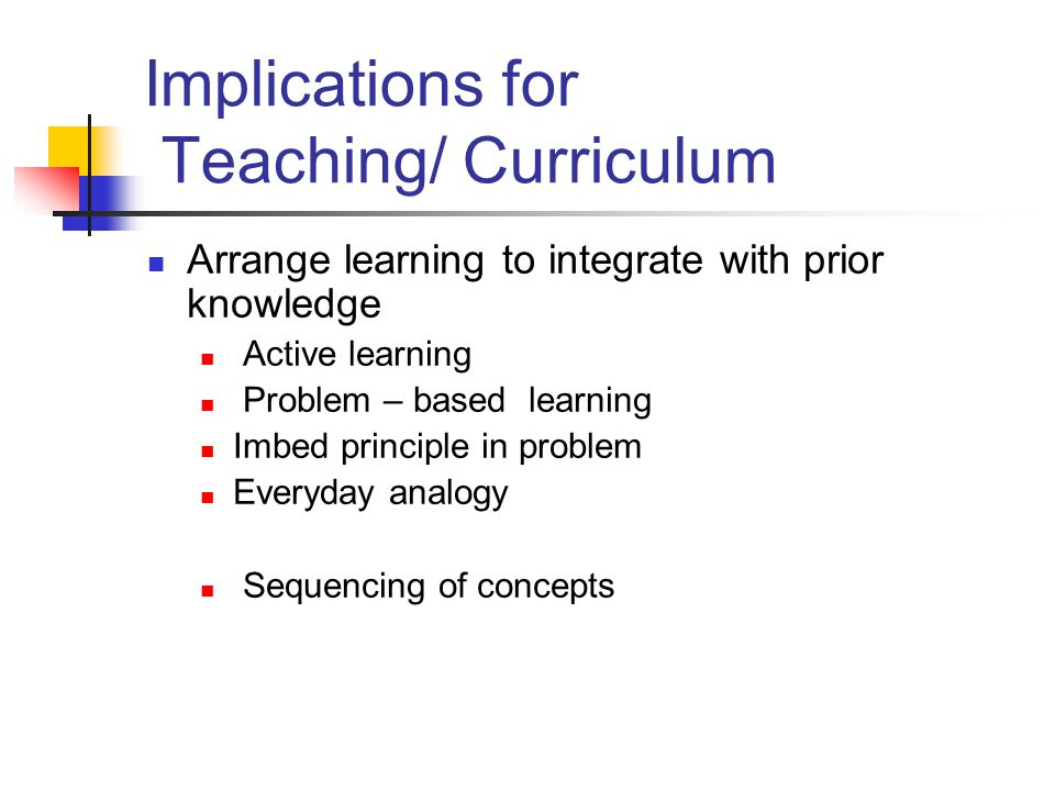 Implications for Teaching/ Curriculum Arrange learning to integrate with prior knowledge Active learning Problem – based learning Imbed principle in p
