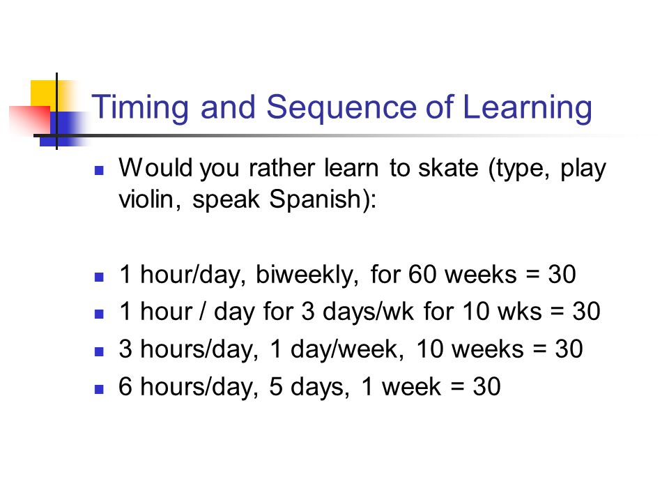 Timing and Sequence of Learning Would you rather learn to skate (type, play violin, speak Spanish): 1 hour/day, biweekly, for 60 weeks = 30 1 hour / d