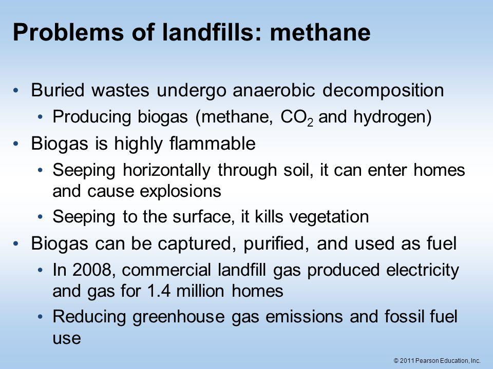 © 2011 Pearson Education, Inc. Problems of landfills: methane Buried wastes undergo anaerobic decomposition Producing biogas (methane, CO 2 and hydrog