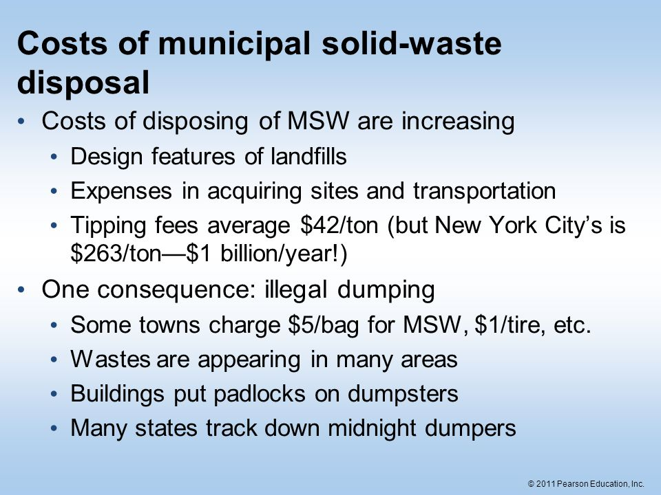 © 2011 Pearson Education, Inc. Costs of municipal solid-waste disposal Costs of disposing of MSW are increasing Design features of landfills Expenses
