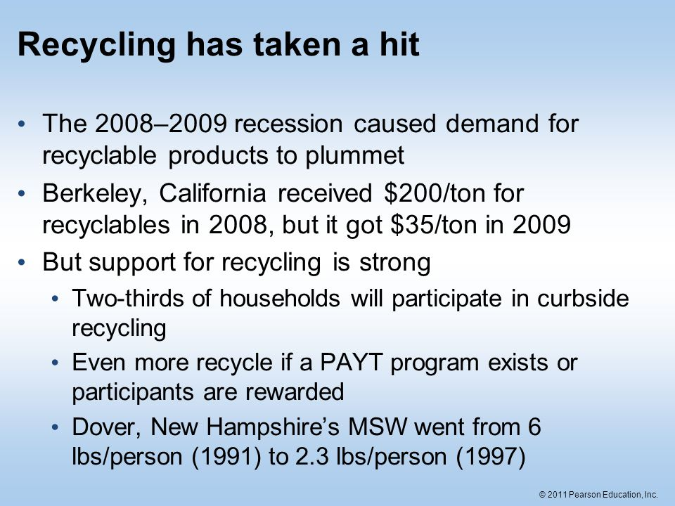 © 2011 Pearson Education, Inc. Recycling has taken a hit The 2008–2009 recession caused demand for recyclable products to plummet Berkeley, California