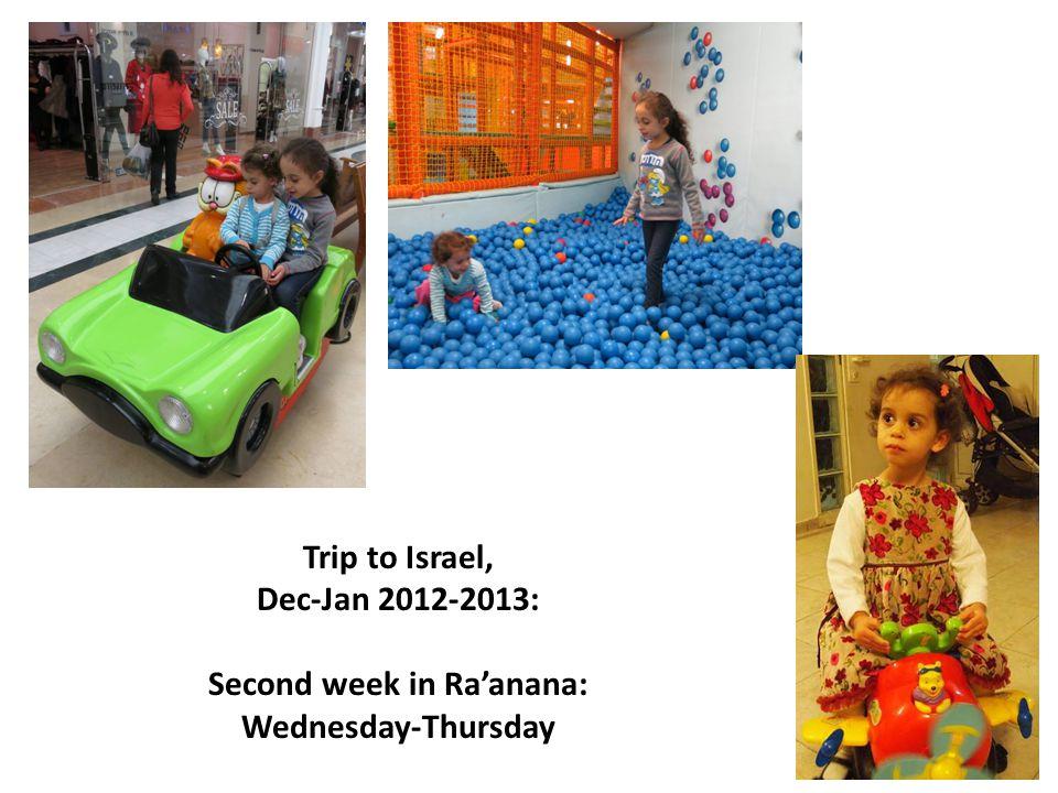 Trip to Israel, Dec-Jan 2012-2013: Second week in Raanana: Wednesday-Thursday