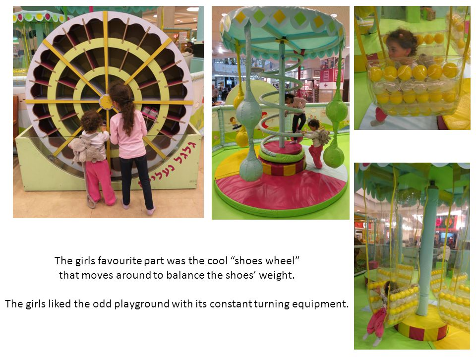 The girls favourite part was the cool shoes wheel that moves around to balance the shoes weight. The girls liked the odd playground with its constant