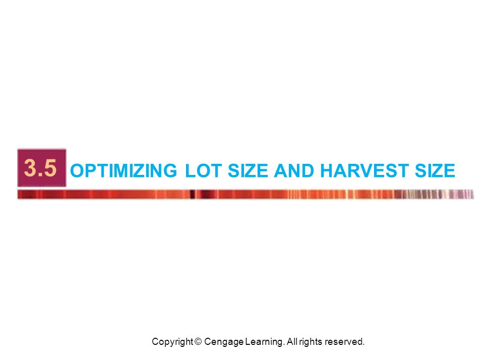 Copyright © Cengage Learning. All rights reserved. OPTIMIZING LOT SIZE AND HARVEST SIZE 3.5