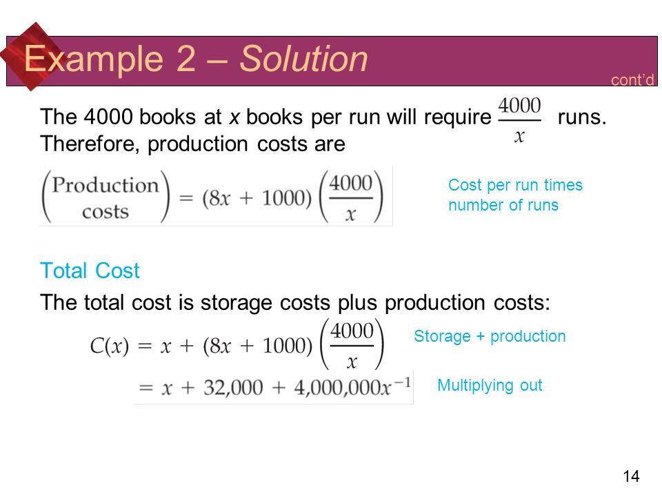 14 Example 2 – Solution The 4000 books at x books per run will require runs.