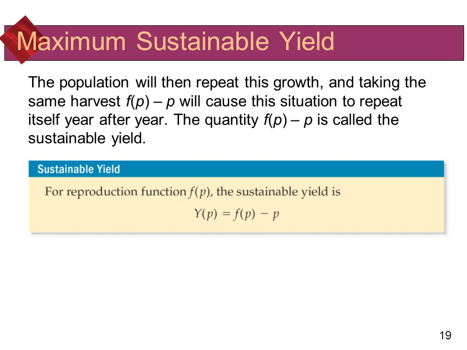 19 Maximum Sustainable Yield The population will then repeat this growth, and taking the same harvest f(p) – p will cause this situation to repeat itself year after year.
