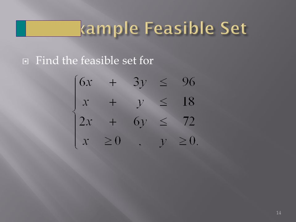 Find the feasible set for 14