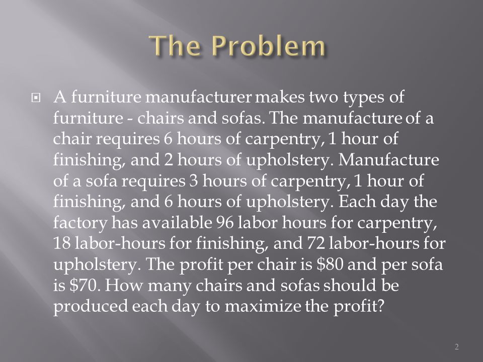 A furniture manufacturer makes two types of furniture - chairs and sofas.